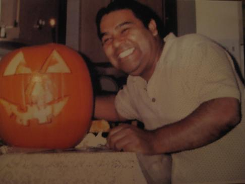 Uncle Erick ... very proud of the pumpkin skills that took place here with his daughter.