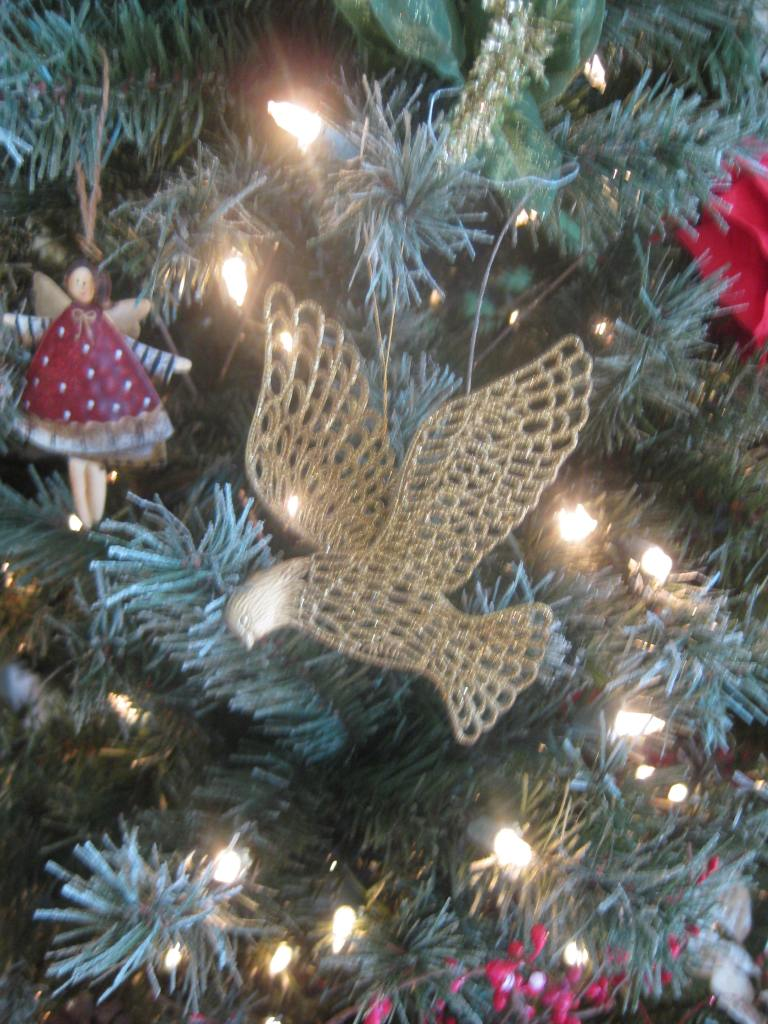 The Christmas tree and the ornaments.