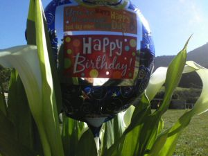 Happy Birthday balloon and flowers for dad.