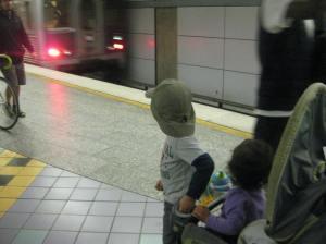 Is that our train? Is that our train? Is that our train? Is that our train? ... No. It's not.