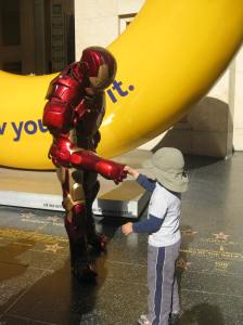 While walking around town, we ran into Iron Man, my son decided to introduce himself. He never thought he'd see a superhero on our Sandbox List adventure.