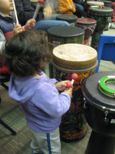 My daughter ready to jam it, as my son keeps up the pace.