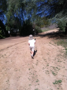 Hiking up the hill, having our Andy Griffith Show-Opie moment.