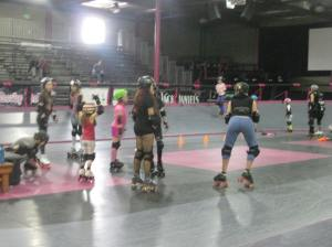 "The ""young"" girls practicing."