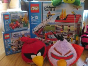 After all the walking we ended up in the gift shop to buy firefighter Legos. But the best prizes were the two Angry Birds he won at the throwthe