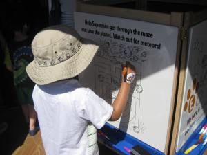 My son completing one of the scavenger hunt activities.