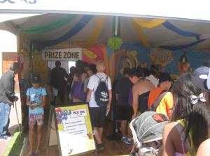 Once we finished, we got in line to collect our prizes.