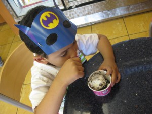 With all the available choices he decided on a cup. Chocolate chip with chocolate sprinkles. Dude. He definitely takes after me.