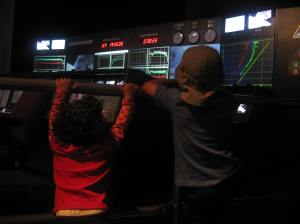 This is where we pretended to be Mission Control engineers. My son did a great job with his countdown.
