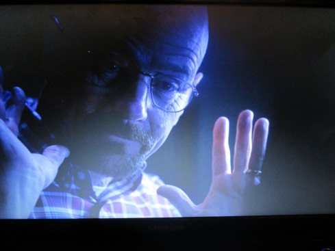 Walt raises his hands and responds.