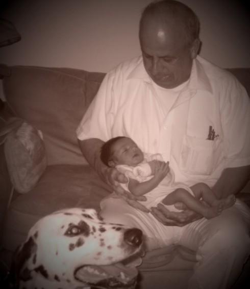 My dad saying hello to the new addition of our family...