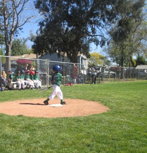 But of all the things this Opening Day weekend this was probably my favorite ... my son, hitting one over third base.