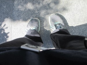 Waiting for the 3-2-1 Go ... but looking down you would think after a whole year I would have bought new sneakers. But it was all good ... I made it to the top.