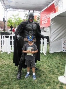 However this is when my son was starstruck. He could barely contain himself. He was so excited to meet his hero and have Batman sign his book. It was his cartwheel-worthy moment of the week.