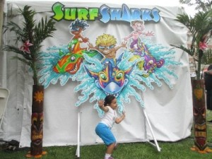 During our exploration this was one of the funnest books and booths we discovered. My daughter did her best surfer pose and joined the characters ofthe book.