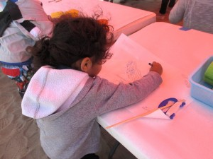 My daughter hard at work