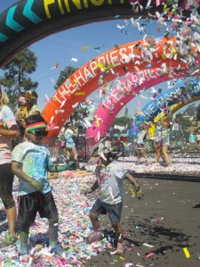 When we finally crossed the finish line my kids were ecstatic about the confetti ... and all the high-fives they were getting.