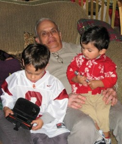 Vegging out with his grandsons.