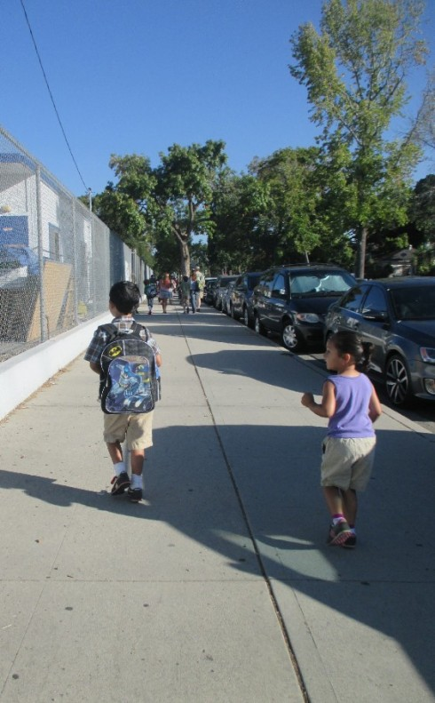 Heading to 1st grade, while his sister and I followed.