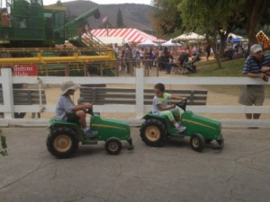 We began with tractor bumper car races to get the party going ...