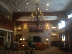The lobby of the hotel ...